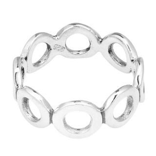 Handmade Modern Eternity Circle Link Sterling Silver Rings (Thailand)