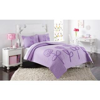 Rachel Purple Ruffle Flower Twin-Size 2-piece Quilt Set