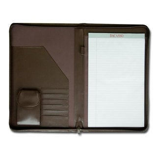 Dacasso Chocolate Brown Leather Deluxe Zip Around Portfolio