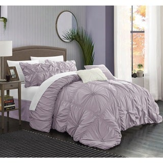 Chic Home Hyatt Floral Pinch Pleat Ruffled Designer Embellished 6-piece Comforter Set