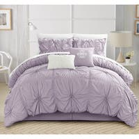 Oliver & James Mona Purple Pleated 6-piece Comforter Set