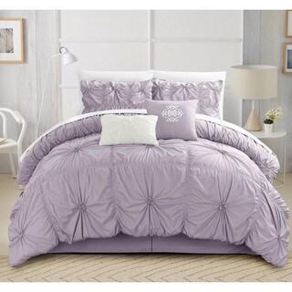 Oliver & James Mona Purple Pleated 6-piece Comforter Set