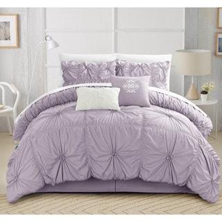 chic home hyatt floral pinch pleat ruffled designer embellished 6piece comforter set