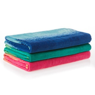 Ombre Jacquard Velour Beach Towel (Pack of 3)