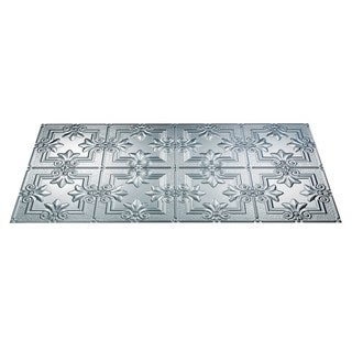Fasade Regalia Brushed Aluminum 2-foot x 4-foot Glue-up Ceiling Tile (2 options available)
