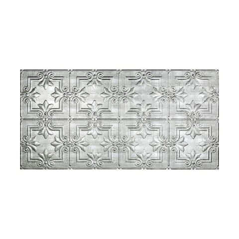 Fasade Regalia Crosshatch Silver 2-foot x 4-foot Glue-up Ceiling Tile
