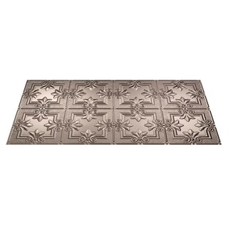 Fasade Regalia Brushed Nickel 2-foot x 4-foot Glue-up Ceiling Tile
