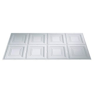 Fasade Portrait Matte White 2-foot x 4-foot Glue-up Ceiling Tile