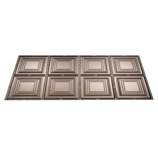 Fasade Portrait Brushed Nickel 2-foot x 4-foot Glue-up Ceiling Tile