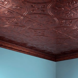 Fasade Traditional Style #5 Moonstone Copper 2-foot x 4-foot Glue-up Ceiling Tile