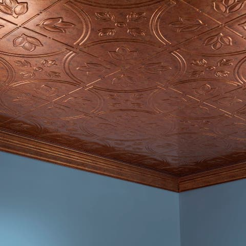 Fasade Traditional Style #5 Muted Gold 2-ft x 4-ft Glue-up Ceiling Tile