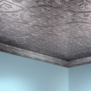 Fasade Traditional Style #5 Crosshatch Silver 2-foot x 4-foot Glue-up Ceiling Tile