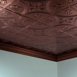 Fasade Traditional Style #5 Oil Rubbed Bronze 2-foot x 4-foot Glue-up Ceiling Tile