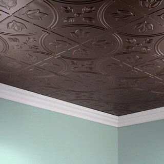 Fasade Traditional Style #5 Argent Bronze 2-foot x 4-foot Glue-up Ceiling Tile