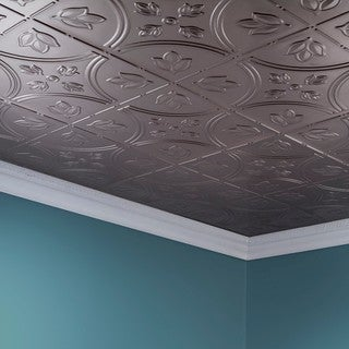 Fasade Traditional Style #5 Brushed Nickel 2-foot x 4-foot Glue-up Ceiling Tile