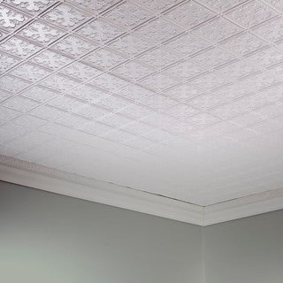 Fasade Traditional Style #10 Gloss White 2-foot x 4-foot Glue-up Ceiling Tile
