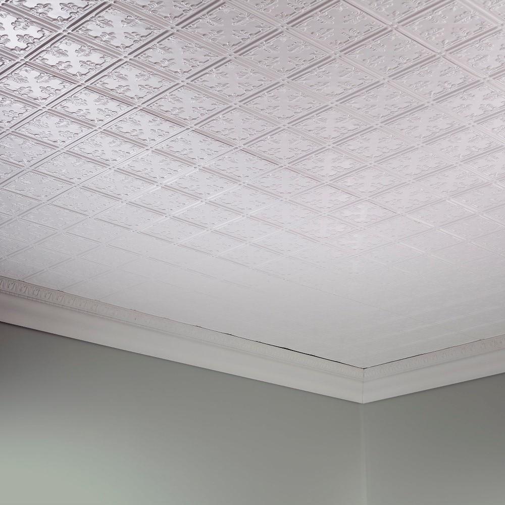 Ceiling Panel Fasade 2ft x 4ft Regalia Matte White Glue Up Ceiling Tile