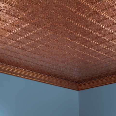 Fasade Traditional Style #10 Muted Gold 2-ft x 4-ft Glue-up Ceiling Tile