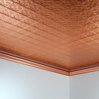 Fasade Traditional Style #10 Polished Copper 2-foot x 4-foot Glue-up Ceiling Tile