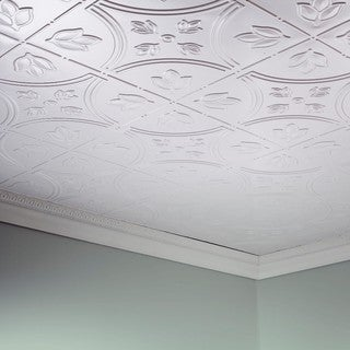Fasade Traditional Style #5 Gloss White 2-foot x 4-foot Glue-up Ceiling Tile
