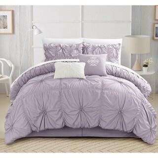 Chic Home Hyatt Floral Pinch Pleat Ruffled Embellished 10-piece Comforter Set