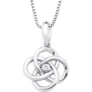 Boston Bay Diamonds Sterling Silver Diamond Accent Linked 4-circle Fashion Pendant