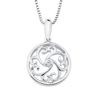Boston Bay Diamonds Sterling Silver Diamond Accent Heart Shaped Scroll Pendant