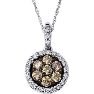 Boston Bay Diamonds 14k White Gold 1/2ct TDW Brown & White Diamond Halo Pendant w/ Chain