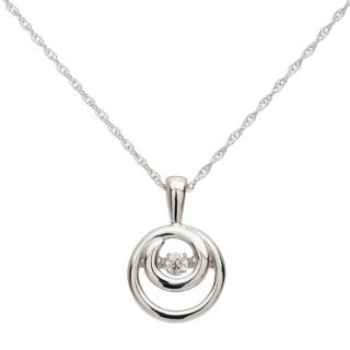 Boston Bay Diamonds Sterling Silver Brilliance in Motion Diamond Double Circle Accent Pendant