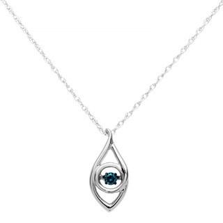 Boston Bay Diamonds 925 Sterling Silver 1/10ct TDW Blue Diamond Iris Pendant w/ Chain