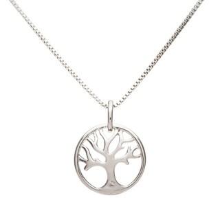 Boston Bay Diamonds 925 Sterling Silver .01ct TDW Diamond Accent Tree of Life Fashion Pendant w/ Chain - White H-I
