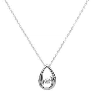 Boston Bay Diamonds Sterling Silver Brilliance in Motion 1/10ct TDW Teardrop Diamond Pendant