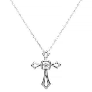 Boston Bay Diamonds Sterling Silver Brilliance in Motion Diamond Accent Cross Pendant