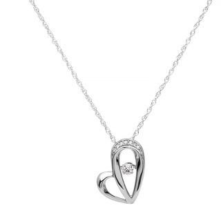 Boston Bay Diamonds Sterling Silver Brilliance in Motion 1/10ct TDW Diamond Heart Pendant