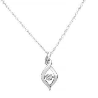 Boston Bay Diamonds 925 Sterling Silver .08ct TDW Diamond Accent Twisted Bale Pendant w/ Chain - White