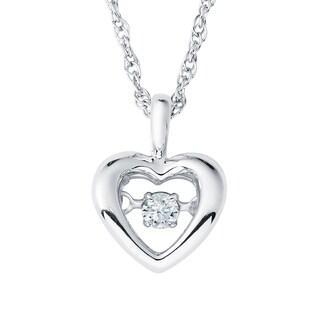 Boston Bay Diamonds Sterling Silver Brilliance in Motion Suspended Diamond Accent Heart Pendant