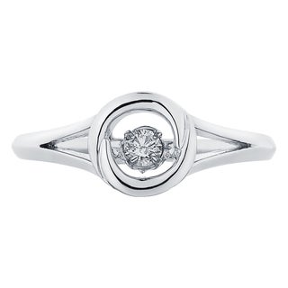 Boston Bay Diamonds Sterling Silver Brilliance in Motion 1/10ct TDW Diamond Bezel Ring