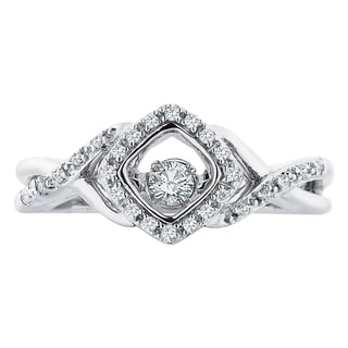 Boston Bay Diamonds Sterling Silver Brilliance in Motion 1/6ct TDW Suspended Diamond Ring