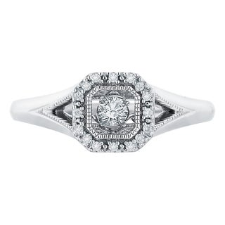 Boston Bay Diamonds Sterling Silver Brilliance in Motion 1/6ct TDW Square Setting Diamond Ring