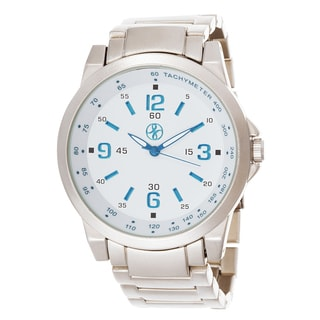 Fortune NYC Men's Silver Case and Blue Hand / Silver Strap Watch