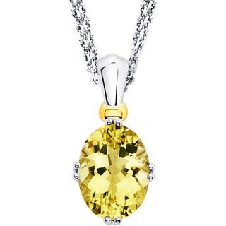 Boston Bay Diamonds 18k Gold and Sterling Silver 9x12mm Cut Lemon Quartz Pendant