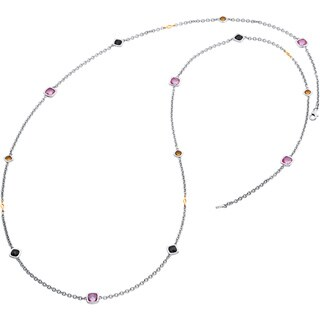 Boston Bay Diamonds 18k Gold and 925 Sterling Silver Triple Gemstone 37-inch Pendant Necklace