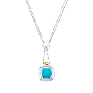 Boston Bay Diamonds 18k Yellow Gold & 925 Sterling Silver 8x8mm Pyramid Cut Turquoise Pendant w/ Chain