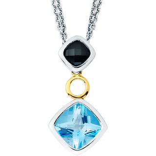Boston Bay Diamonds 18k Gold and Sterling Silver Black Onyx and Blue Topaz Pendant