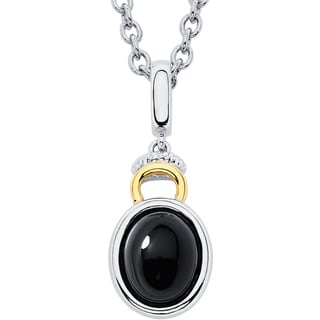 Boston Bay Diamonds 18k Gold and Sterling Silver 8x10mm Cabochon Oval-cut Black Onyx Pendant