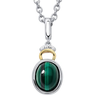 Boston Bay Diamonds 18k Gold and Sterling Silver 8x10mm Cabochon Oval-cut Malachite Pendant