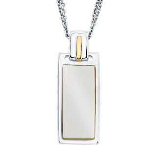 Boston Bay Diamonds 18k Gold and Sterling Silver 8x19mm Flat Baguette Cut White Onyx Pendant
