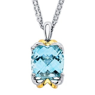 Boston Bay Diamonds 18k Gold and Sterling Silver 10x10mm Cushion Cut Blue Topaz Pendant