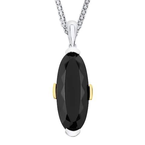 Boston Bay Diamonds 18k Yellow Gold & 925 Sterling Silver 10x25mm Black Onyx Pendant w/ Chain