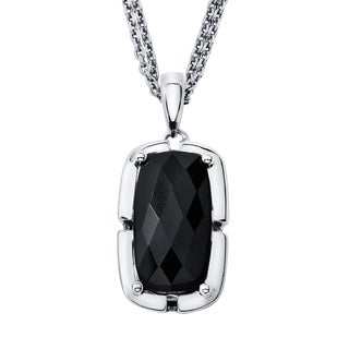 Sterling Silver with 8x15mm Black Onyx Pendant
